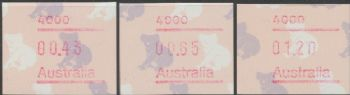 Australian Framas: Koala Button Set 43c, 65c, $1.20: Post Code 4000 Brisbane